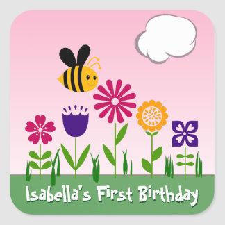 Happy Bee Flower Garden Personalized Square Sticker