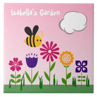Happy Bee Flower Garden Pink Personalized Ceramic Tile