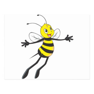 Happy Bee Flying Post Cards