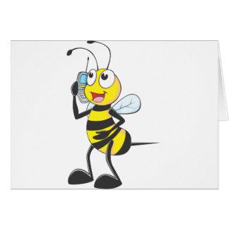 Happy Bee on Phone Greeting Card