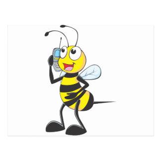 Happy Bee on Phone Post Card