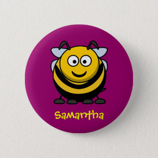 Happy bee pinback button