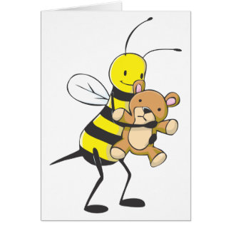Happy Bee Playing with Teddy Bear Greeting Cards