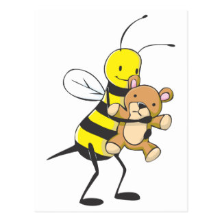 Happy Bee Playing with Teddy Bear Postcard