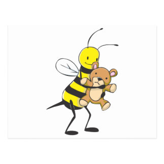 Happy Bee Playing with Teddy Bear Postcards
