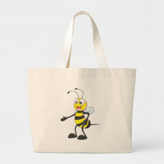 Happy Bee Pointing Large Tote Bag