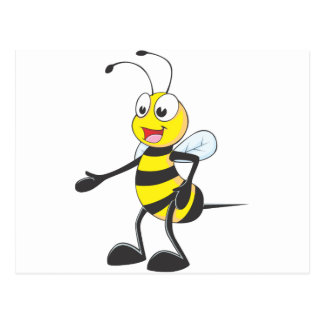 Happy Bee Pointing Postcard