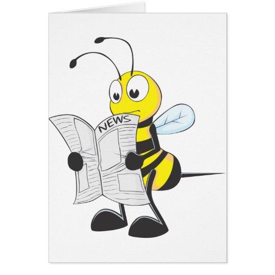 Happy Bee Reading Newspaper Card