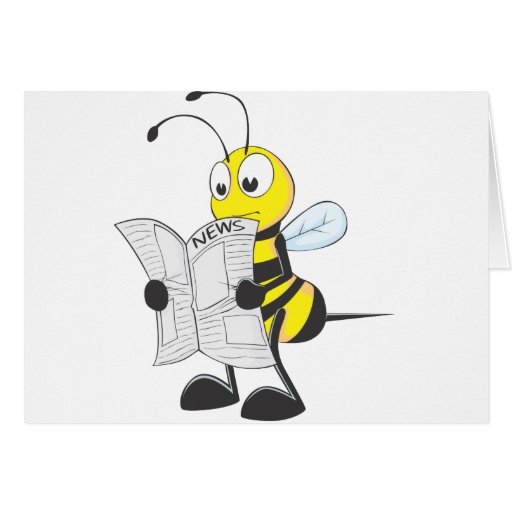Happy Bee Reading Newspaper Greeting Cards