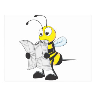 Happy Bee Reading Newspaper Postcard