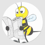 Happy Bee Reading Newspaper Sticker