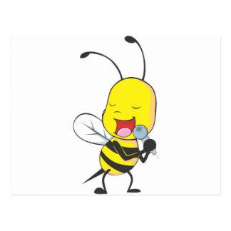 Happy Bee Singing Postcards