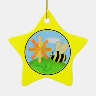 Happy Bee Star Ornament