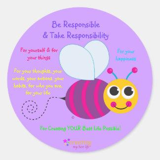 Happy Bee Sticker - large