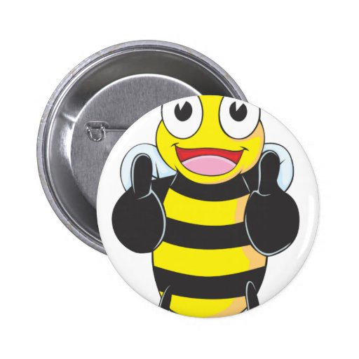 Happy Bee with Gesture of Approval 2 Inch Round Button