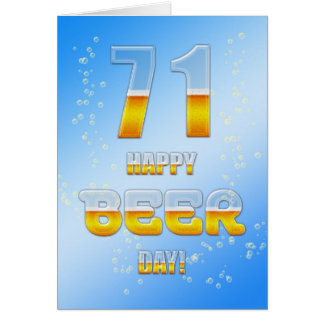 Happy Beer day 71st birthday card