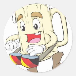 Happy Beer Man Classic Round Sticker