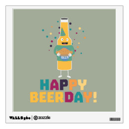 Happy Beerday Beerbottle Zhnp3 Wall Decal