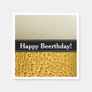 Happy Beerthday! Adult Birthday or Customize Text Napkin