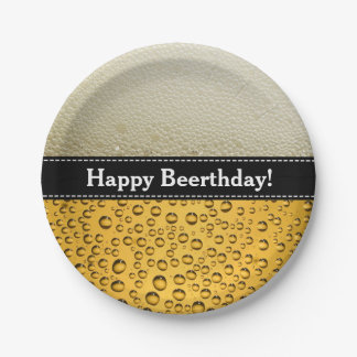 Happy Beerthday! Funny Birthday or Any Text Paper Plate