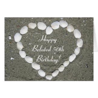 Happy Belated 50th Birthday Seashell heart card