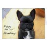 Happy Belated Birthday French Bulldog art card