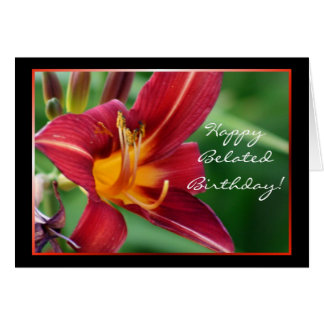 Happy Belated Birthday Red Daylily greeting card
