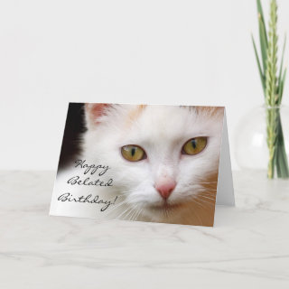 Happy Belated Birthday White cat greeting card