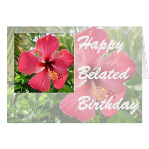 happy belated birthday with hibiscus greeting card
