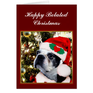 Happy Belated Christmas Boston terrier Card