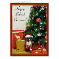 Happy Belated Christmas boxer greeting card