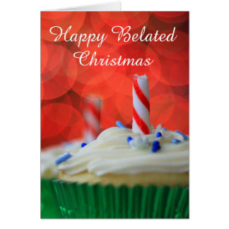 Happy Belated Christmas cupcake card