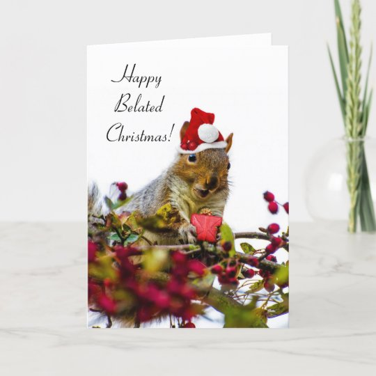 Christmas Squirrel.Happy Belated Christmas Squirrel Holiday Card
