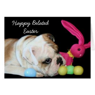 Happy Belated Easter bulldog greeting card