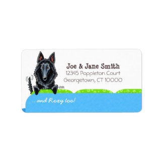 Happy Belgian Sheepdog Blue Couch Label