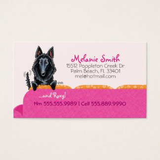 Happy Belgian Sheepdog Pink Couch Contact Card
