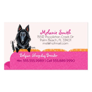 Happy Belgian Sheepdog Pink Couch Contact Card Business Cards