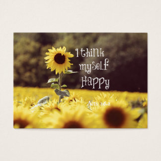 Happy Bible Verse with Sunflowers Business Card