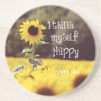 Happy Bible Verse with Sunflowers Drink Coaster