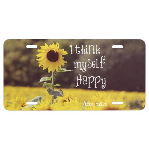 Happy Bible Verse with Sunflowers License Plate