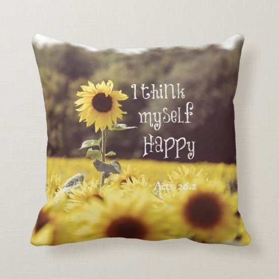 Happy Bible Verse with Sunflowers Throw Pillow
