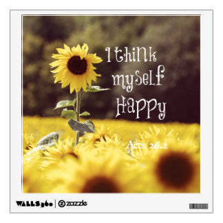 Happy Bible Verse with Sunflowers Wall Sticker