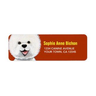 Happy Bichon Frise Dog Return Address Label
