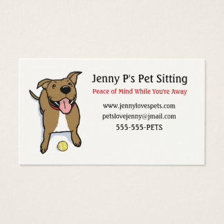 Happy Big Brown Dog with Tennis Ball Business Card