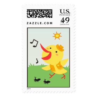Happy Bird and Ants Postage