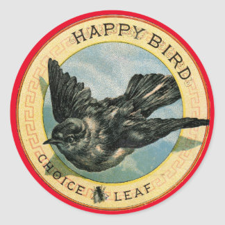 Happy Bird Choice Leaf Vintage Ad Stickers