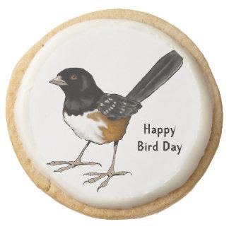 Happy Bird Day, Birthday, Pun, Funny, Art Round Shortbread Cookie