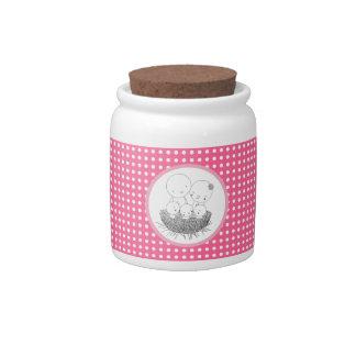 Happy Bird Family in Nest Family Love Candy Jar
