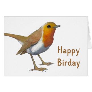 Happy Birday: English Robin: Oil Pastel: Birthday Card