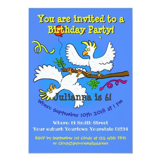 Happy Birds 6 Years Old Birthday Party Invite